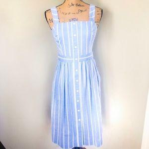 Draper James Stripe Button Front Dress Blue